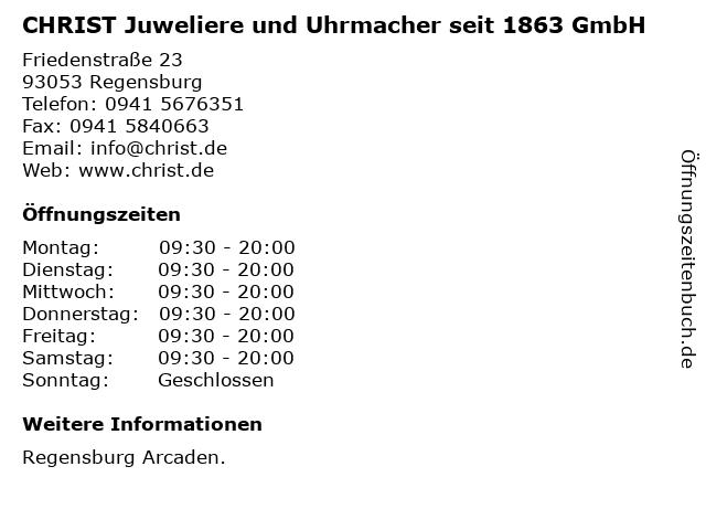 CHRIST Juweliere und Uhrmacher seit 1863 GmbH in Regensburg: Adresse und Öffnungszeiten