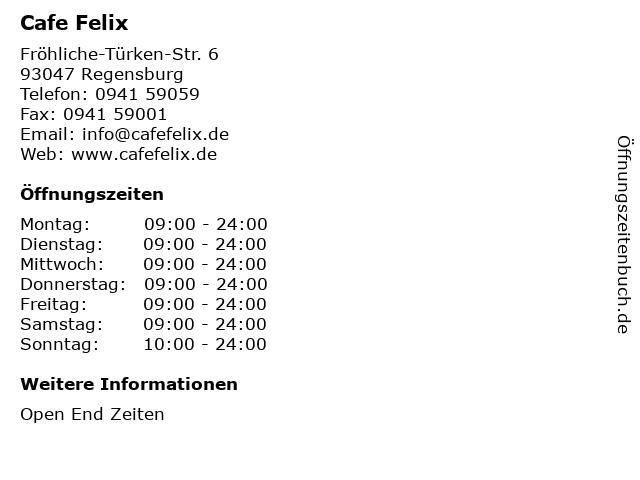 Cafe Felix in Regensburg: Adresse und Öffnungszeiten