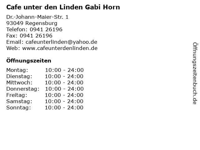 Cafe unter den Linden Gabi Horn in Regensburg: Adresse und Öffnungszeiten