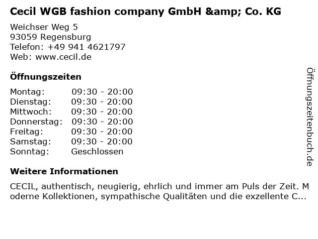 Cecil WGB fashion company GmbH & Co. KG in Regensburg: Adresse und Öffnungszeiten