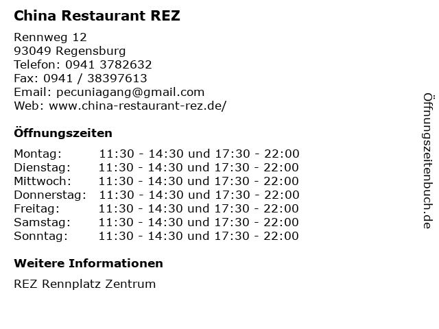 China Restaurant REZ in Regensburg: Adresse und Öffnungszeiten