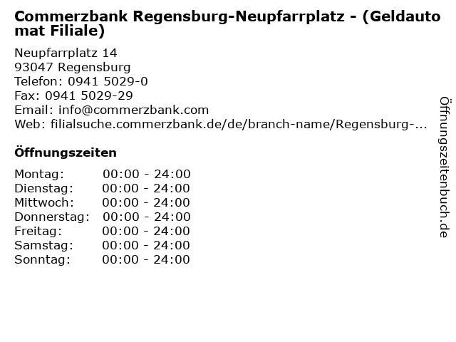 Commerzbank Regensburg-Neupfarrplatz - (Geldautomat Filiale) in Regensburg: Adresse und Öffnungszeiten