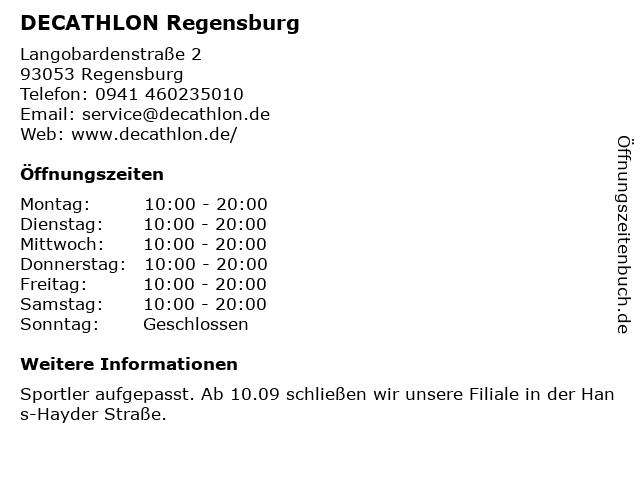 Decathlon in Regensburg: Adresse und Öffnungszeiten