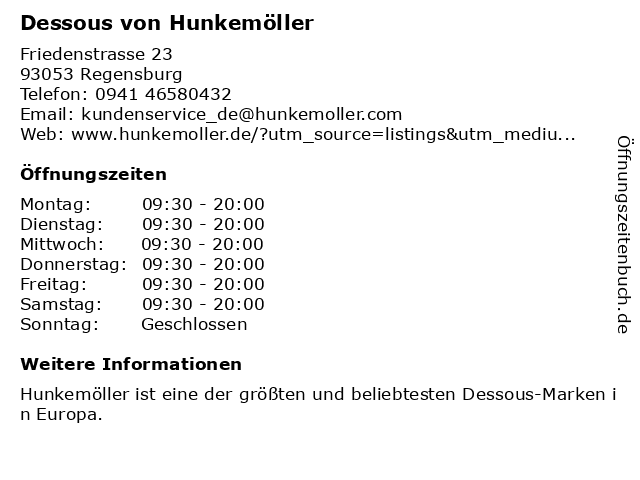 Dessous von Hunkemöller in Regensburg: Adresse und Öffnungszeiten