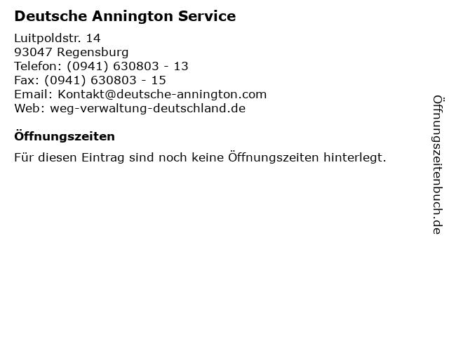 Deutsche Annington Service in Regensburg: Adresse und Öffnungszeiten