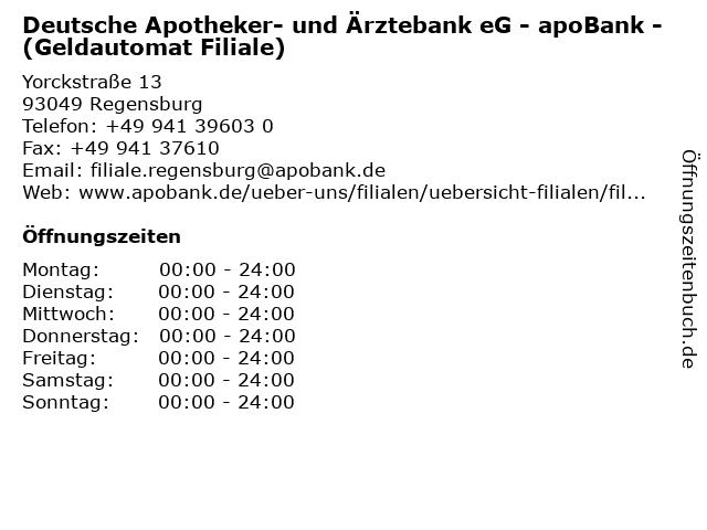 Deutsche Apotheker- und Ärztebank eG - apoBank - (Geldautomat Filiale) in Regensburg: Adresse und Öffnungszeiten