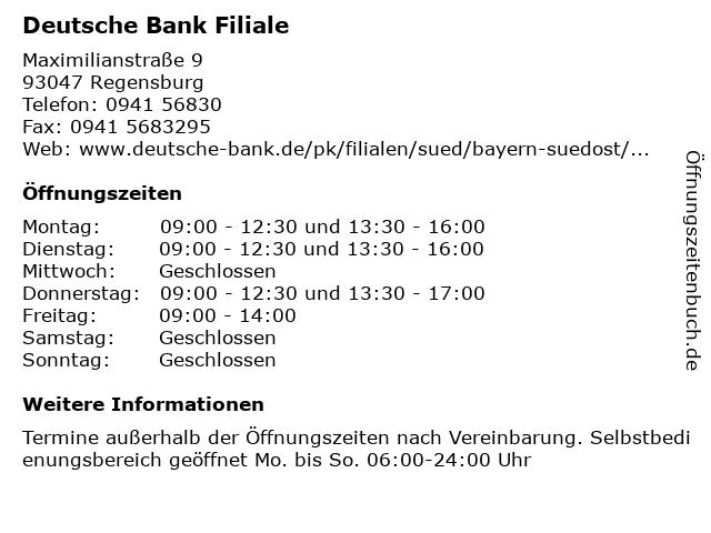 Deutsche Bank Filiale in Regensburg: Adresse und Öffnungszeiten