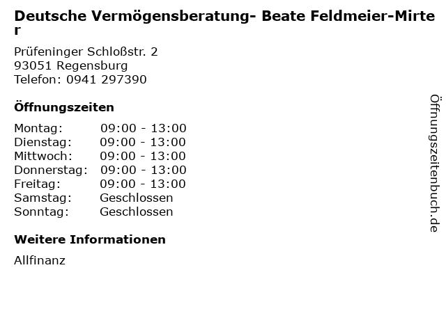 Deutsche Vermögensberatung- Beate Feldmeier-Mirter in Regensburg: Adresse und Öffnungszeiten