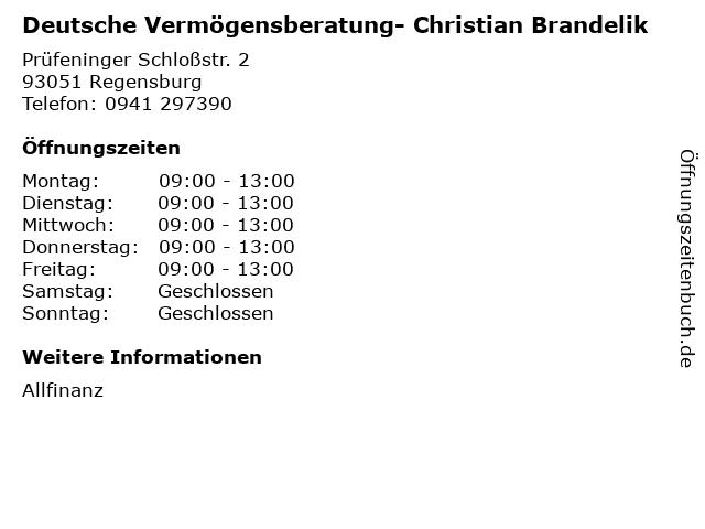 Deutsche Vermögensberatung- Christian Brandelik in Regensburg: Adresse und Öffnungszeiten