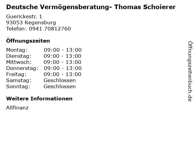 Deutsche Vermögensberatung- Thomas Schoierer in Regensburg: Adresse und Öffnungszeiten