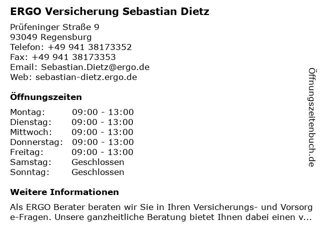 ᐅ Offnungszeiten Ergo Versicherung Sebastian Dietz