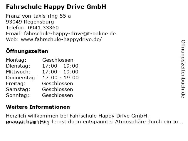 Fahrschule Happy Drive GmbH (Unterricht) in Regensburg: Adresse und Öffnungszeiten