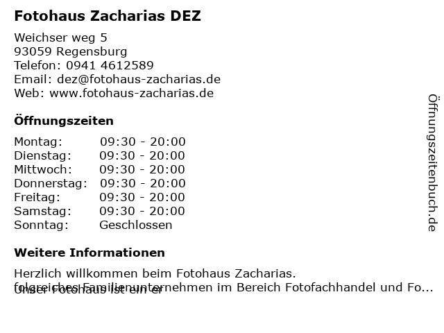 Fotohaus Zacharias in Regensburg: Adresse und Öffnungszeiten