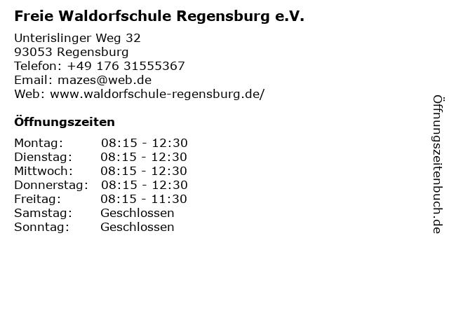 Freie Waldorfschule Regensburg e.V. in Regensburg: Adresse und Öffnungszeiten