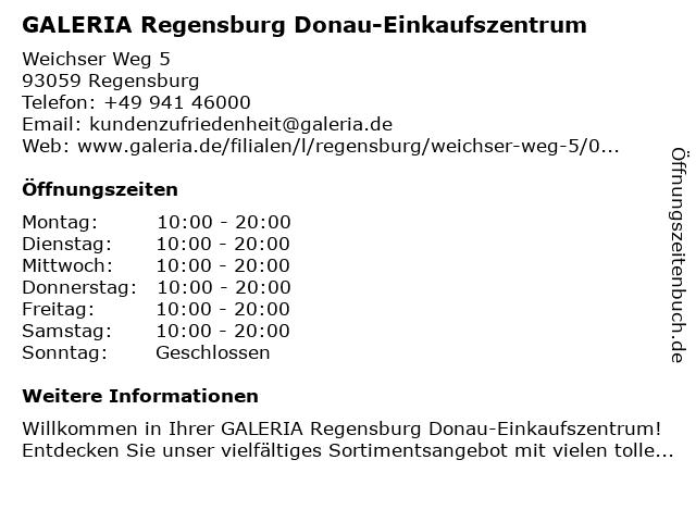 GALERIA (Kaufhof) Regensburg Donau-Einkaufszentrum in Regensburg: Adresse und Öffnungszeiten