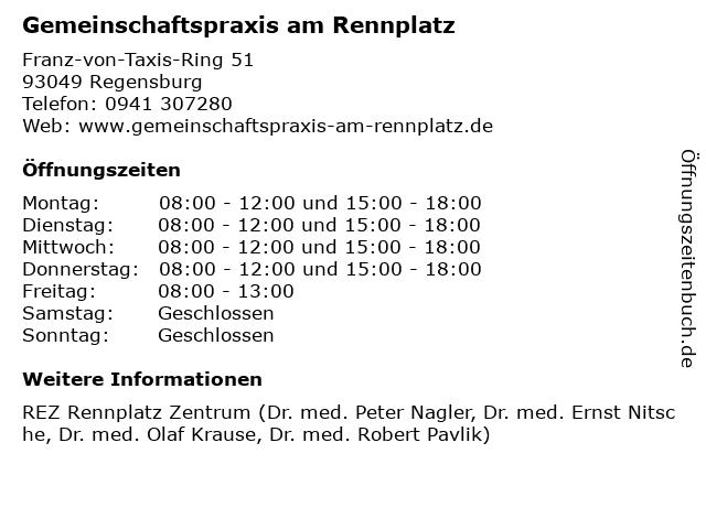 Gemeinschaftspraxis am Rennplatz in Regensburg: Adresse und Öffnungszeiten