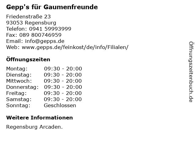 Gepp's für Gaumenfreunde in Regensburg: Adresse und Öffnungszeiten