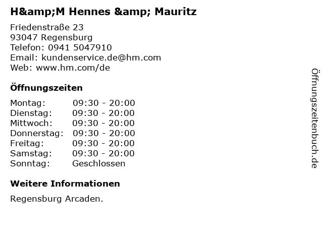 H&M Hennes & Mauritz in Regensburg: Adresse und Öffnungszeiten