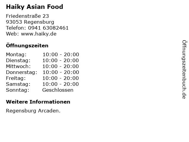 Haiky Asian Food in Regensburg: Adresse und Öffnungszeiten
