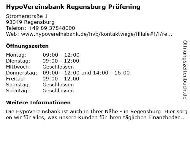 HypoVereinsbank Regensburg Prüfening in Regensburg: Adresse und Öffnungszeiten