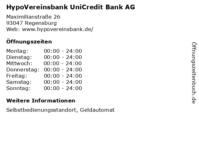 HypoVereinsbank UniCredit Bank AG in Regensburg: Adresse und Öffnungszeiten