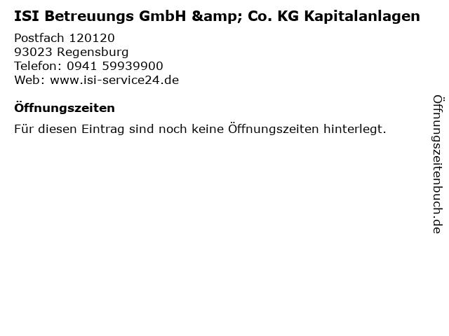 ISI Betreuungs GmbH & Co. KG Kapitalanlagen in Regensburg: Adresse und Öffnungszeiten
