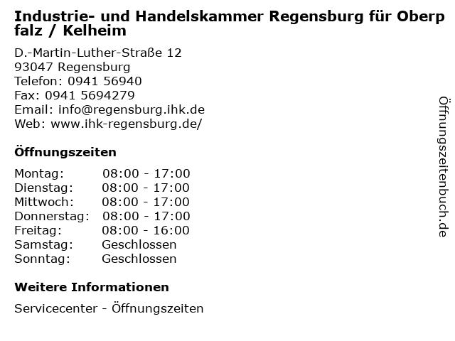 Industrie- und Handelskammer Regensburg für Oberpfalz / Kelheim in Regensburg: Adresse und Öffnungszeiten
