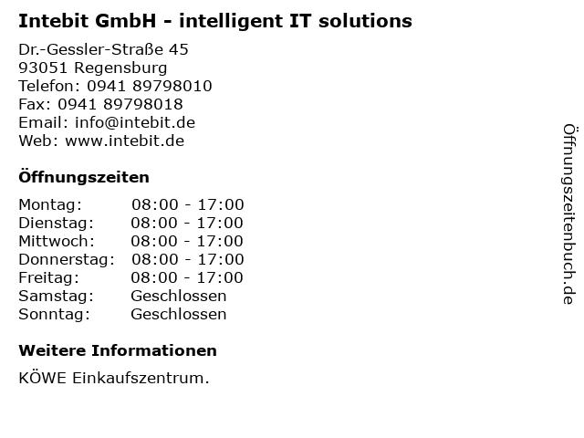 Intebit GmbH - intelligent IT solutions in Regensburg: Adresse und Öffnungszeiten