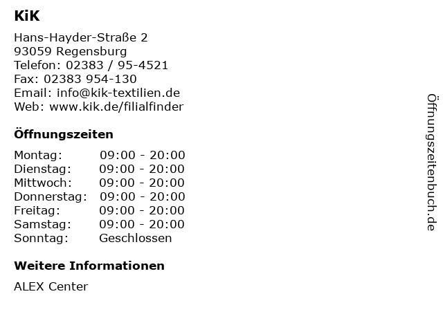 KiK Textilien und Non-Food GmbH in Regensburg: Adresse und Öffnungszeiten