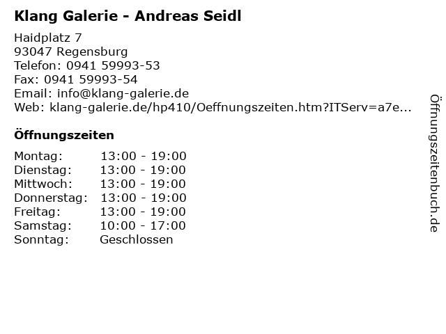 Klang Galerie - Andreas Seidl in Regensburg: Adresse und Öffnungszeiten