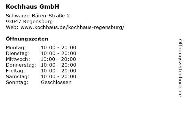 Kochhaus GmbH in Regensburg: Adresse und Öffnungszeiten