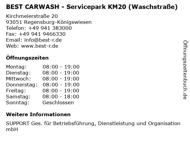 BEST CARWASH - Servicepark KM20 (Waschstraße) in Regensburg-Königswiesen: Adresse und Öffnungszeiten