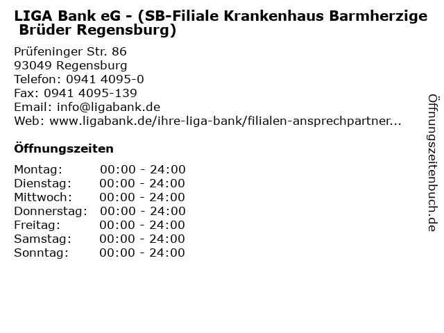 LIGA Bank eG - (SB-Filiale Krankenhaus Barmherzige Brüder Regensburg) in Regensburg: Adresse und Öffnungszeiten