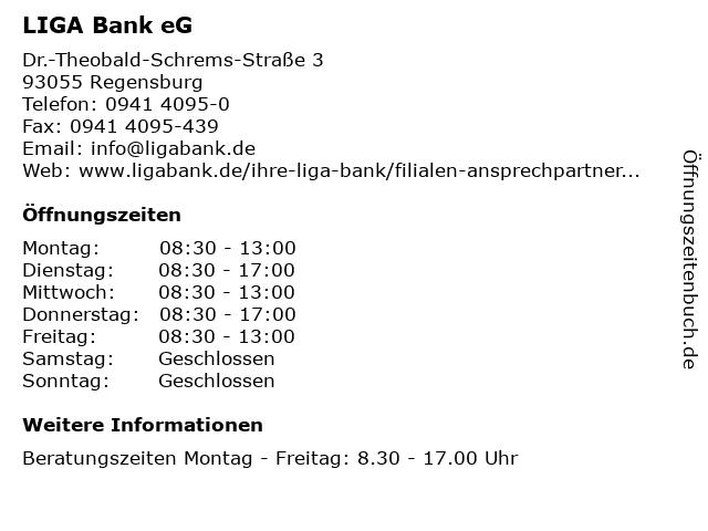 LIGA Bank eG - Filiale Regensburg in Regensburg: Adresse und Öffnungszeiten