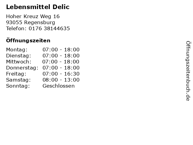 Lebensmittel Delic in Regensburg: Adresse und Öffnungszeiten