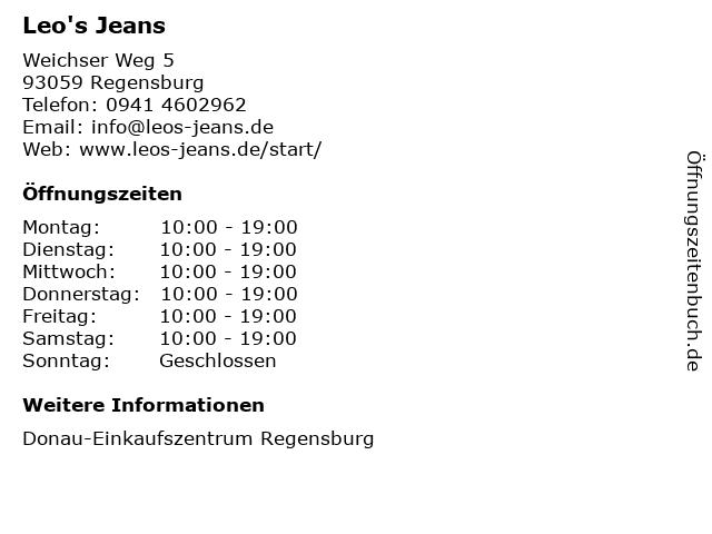 Leo's Pure Jeans in Regensburg: Adresse und Öffnungszeiten