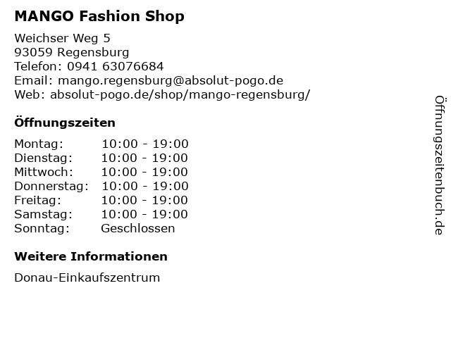MANGO Deutschland GmbH in Regensburg: Adresse und Öffnungszeiten