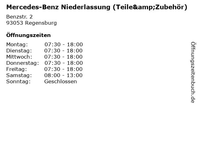 Mercedes-Benz Niederlassung (Teile&Zubehör) in Regensburg: Adresse und Öffnungszeiten
