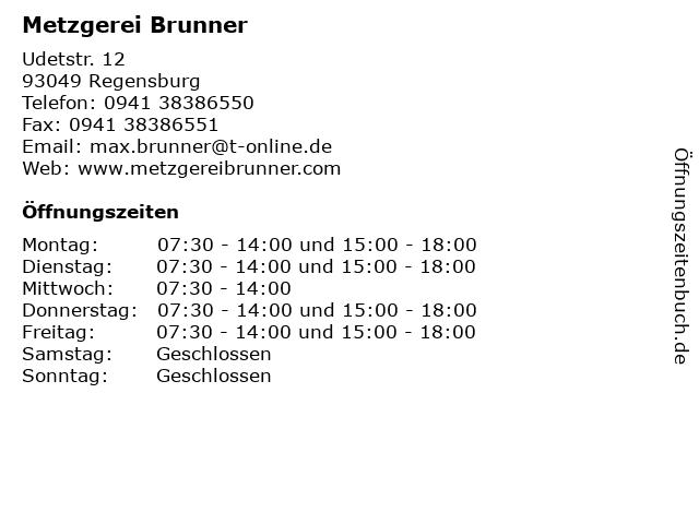 Metzgerei Brunner in Regensburg: Adresse und Öffnungszeiten