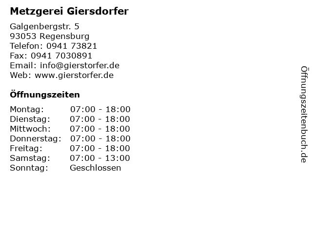 Metzgerei Giersdorfer in Regensburg: Adresse und Öffnungszeiten