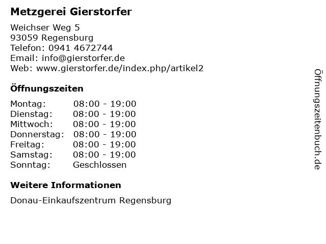 Metzgerei Gierstorfer in Regensburg: Adresse und Öffnungszeiten