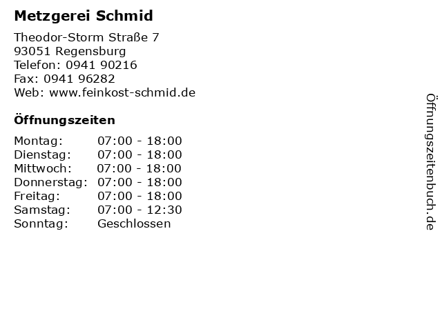 Metzgerei Schmid in Regensburg: Adresse und Öffnungszeiten