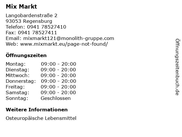 Mix Markt in Regensburg: Adresse und Öffnungszeiten