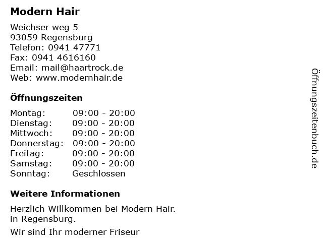 Modern Hair by Helga in Regensburg: Adresse und Öffnungszeiten