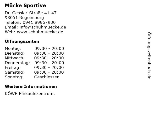 Mücke Sportive in Regensburg: Adresse und Öffnungszeiten