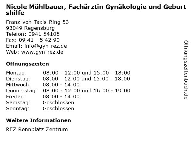 Nicole Mühlbauer, Fachärztin Gynäkologie und Geburtshilfe in Regensburg: Adresse und Öffnungszeiten