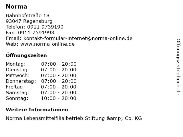 Norma in Regensburg: Adresse und Öffnungszeiten