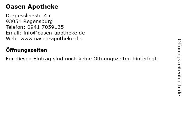 Oasen Apotheke in Regensburg: Adresse und Öffnungszeiten