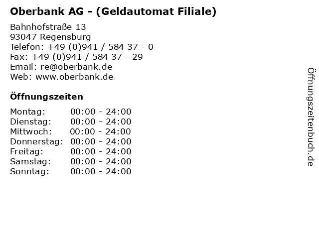 Oberbank AG - (Geldautomat Filiale) in Regensburg: Adresse und Öffnungszeiten
