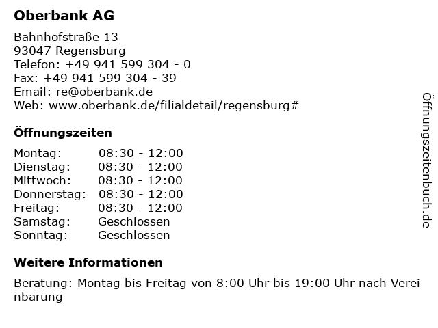 Oberbank AG in Regensburg: Adresse und Öffnungszeiten
